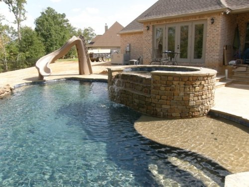 Custom Pool with Slide and Hot Tub